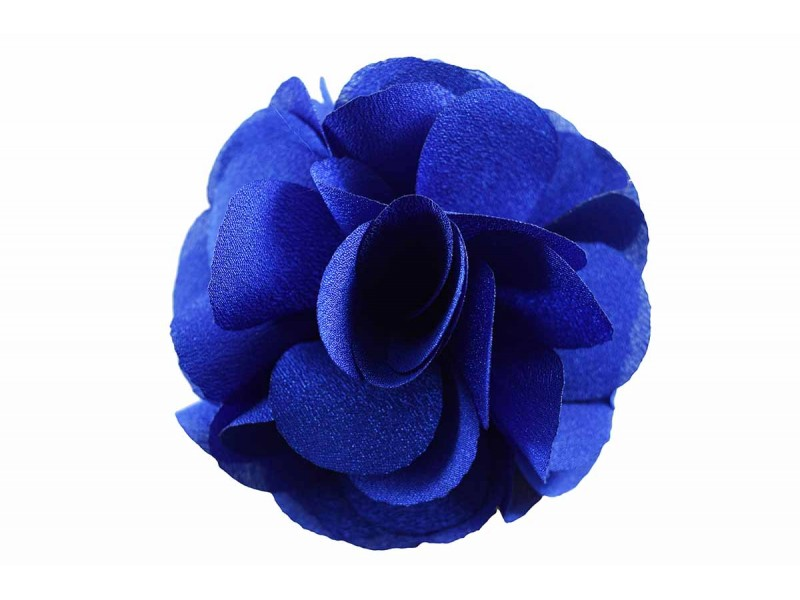 bloem corsage organza koningsblauw