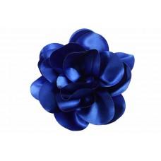 bloem corsage satijn glans kobalt blauw XL 14 cm