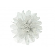 bloem corsage tule wit zilver  glitter