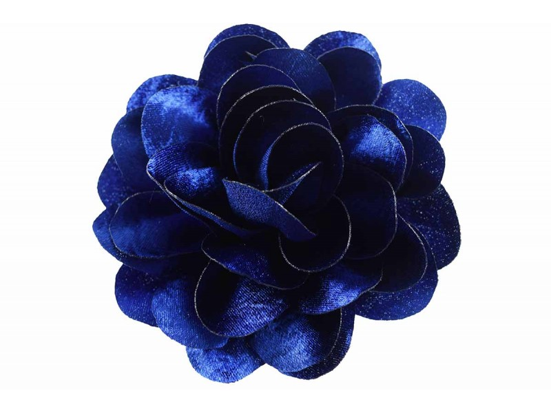 bloem corsage velours kobalt blauw