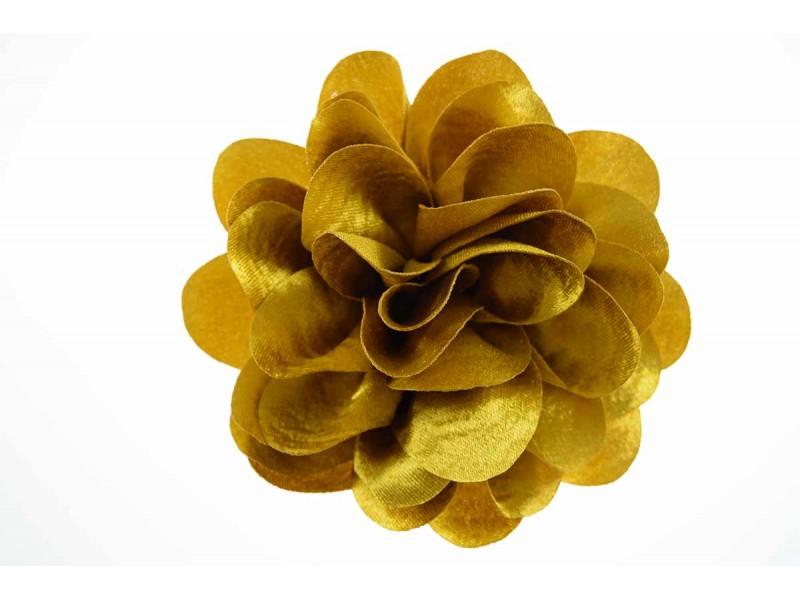 bloem corsage velours okergoud