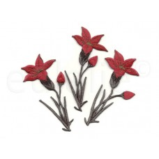 bloem geborduurde applicatie rood