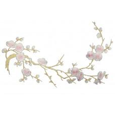 bloemen op tak lichtroze wit patch 37 x 15 cm