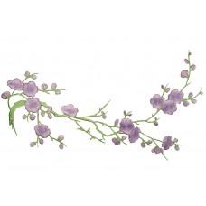 bloemen op tak lila patch 37 x 15 cm