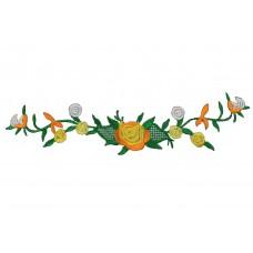 bloemen op tak oranje patch 23 x 6 cm