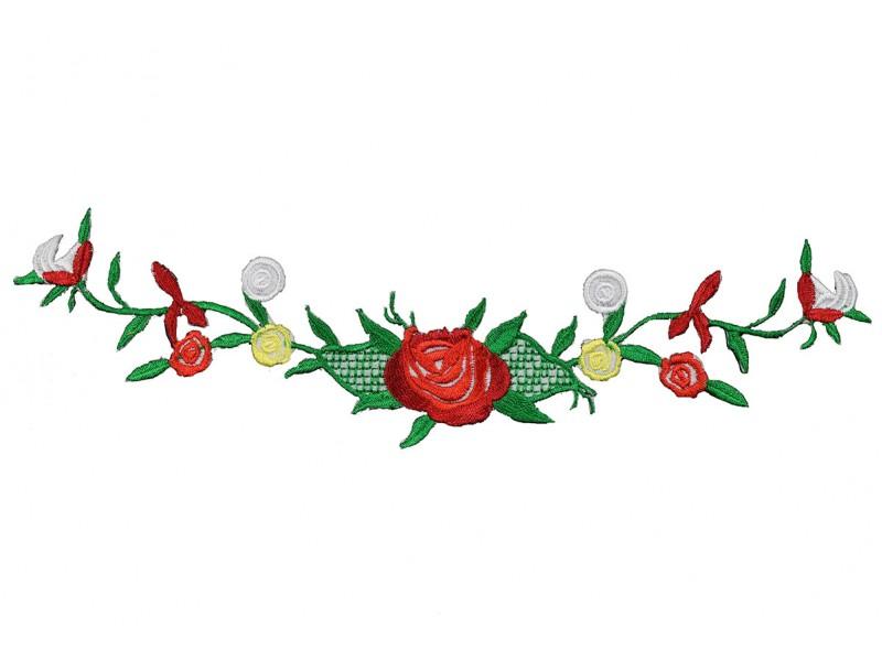 bloemen op tak rood patch 23 x 6 cm