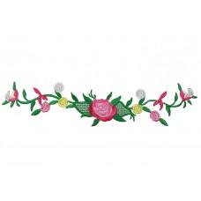 bloemen op tak roze patch 23 x 6 cm