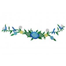 bloemen op tak turquoise patch 23 x 6 cm