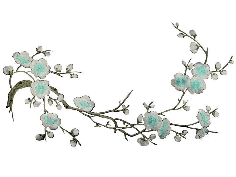 bloemen op tak turquoise patch 37 x 15 cm