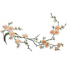 bloemen op tak zalmroze patch 37 x 15 cm