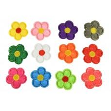 bloemen patch set 12 kleuren opstrijkbaar