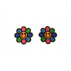 bloemen patch set met smiley 2 stuks