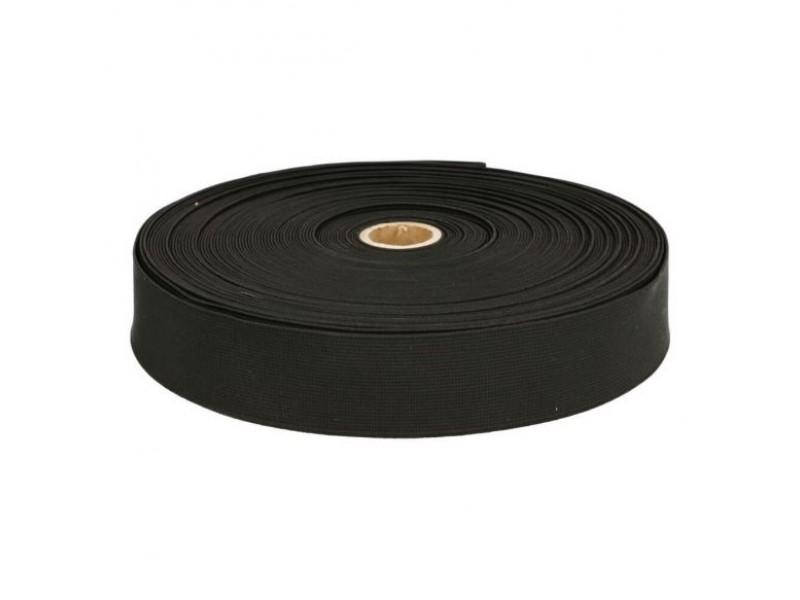 breed elastiek 35mm zwart extra stevig per meter