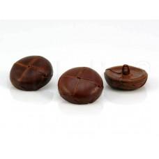 bruine lederen knoop 2.8 cm