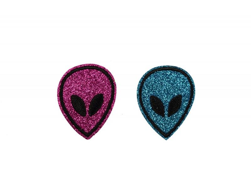 buitenaardse wezens patch glitter 2 kleuren