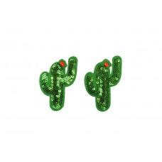 cactus patch met pailletten 2 stuks