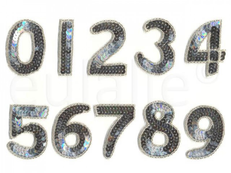 cijfers pailletten zilver