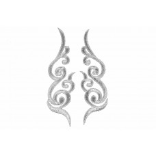 decoratieve patch set zilver geborduurd 15x4,5cm