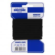 directoire elastiek 6 mm breed zwart 10 meter