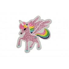 eenhoorn patch met vleugels en roze glitters