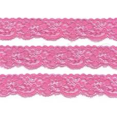 elastisch nylon kant 3 cm hard roze
