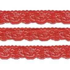 elastisch nylon kant 3 cm rood