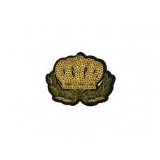 embleem applicatie kroon gouden pailletten