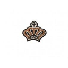 embleem applicatie kroon wit met gouden pailletten