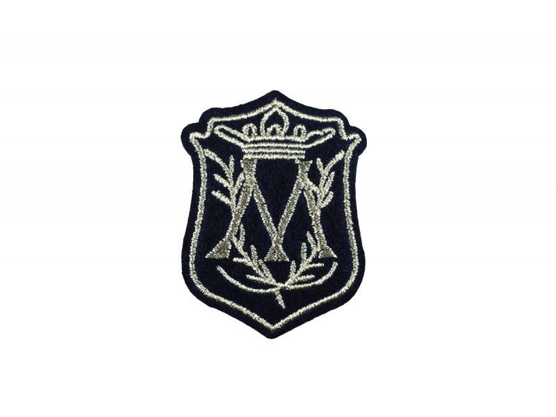 embleem applicatie zilver donkerblauw