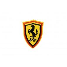Ferrari embleem geel opstrijkbaar 10 x 7,5 cm