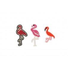 flamingo applicatie set opstrijkbaar 3 stuks