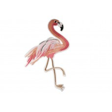 flamingo patch roze met glitter links XXL 28 x 19 cm