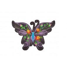 geborduurde applicatie vlinder lila groot