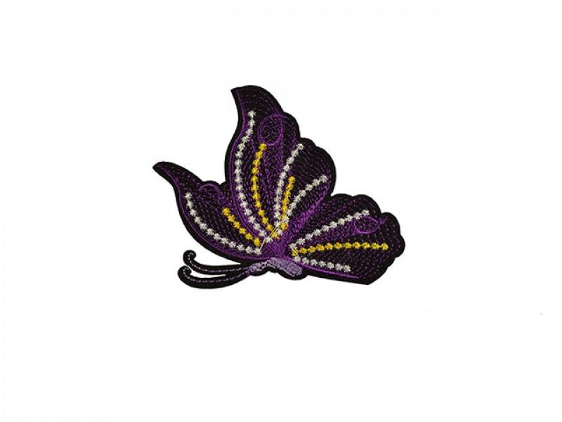 geborduurde applicatie vlinder paars
