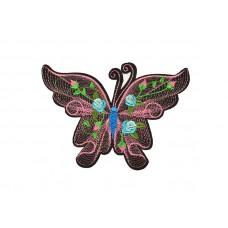 geborduurde applicatie vlinder roze groot