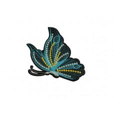 geborduurde applicatie vlinder turquoise