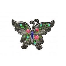 geborduurde applicatie vlinder zilver groot