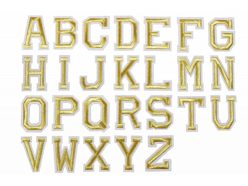 gouden alfabet letter patch A t/m Z (5x4cm)