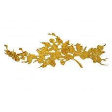 gouden bloem applicatie extra groot 42 x 15 cm