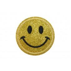 gouden glitter smiley patch