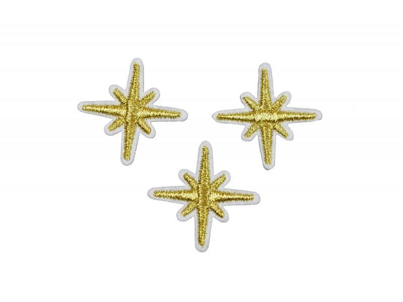 gouden sneeuwvlok patch 3 cm 3 stuks