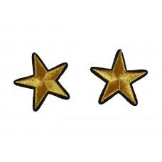 gouden sterren patch 4 cm goud 2 stuks