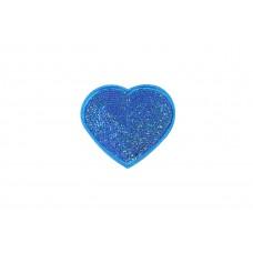 hart patch blauw fijne pailletten