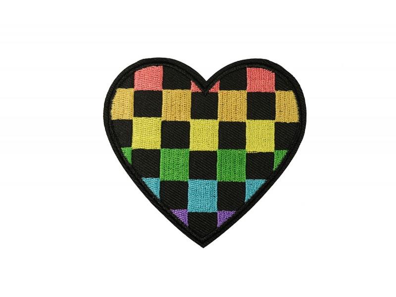 hart patch geblokt diverse kleuren