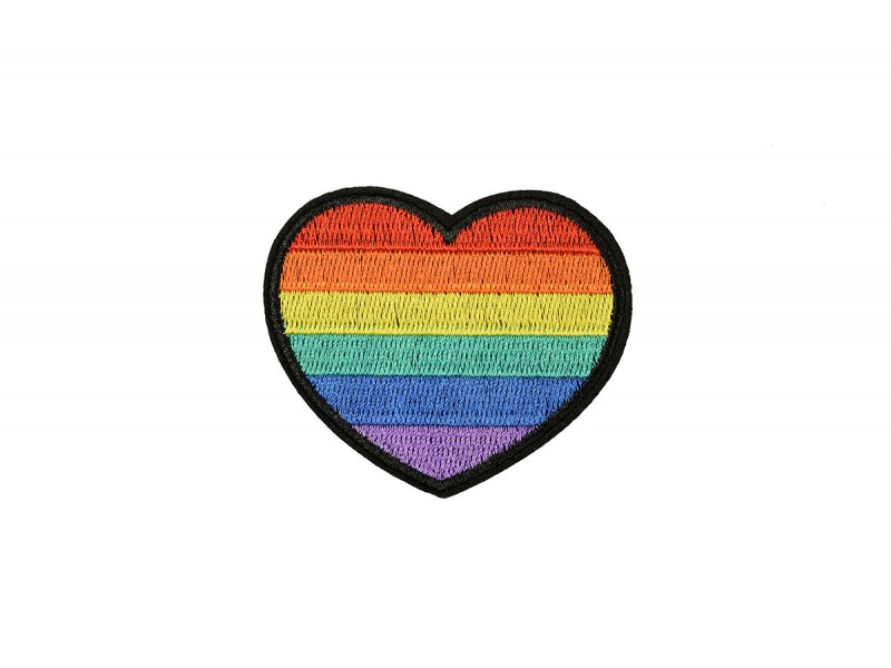 hart patch regenboog 6 x 6 cm