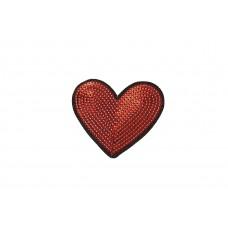 hart patch rood fijne pailletten