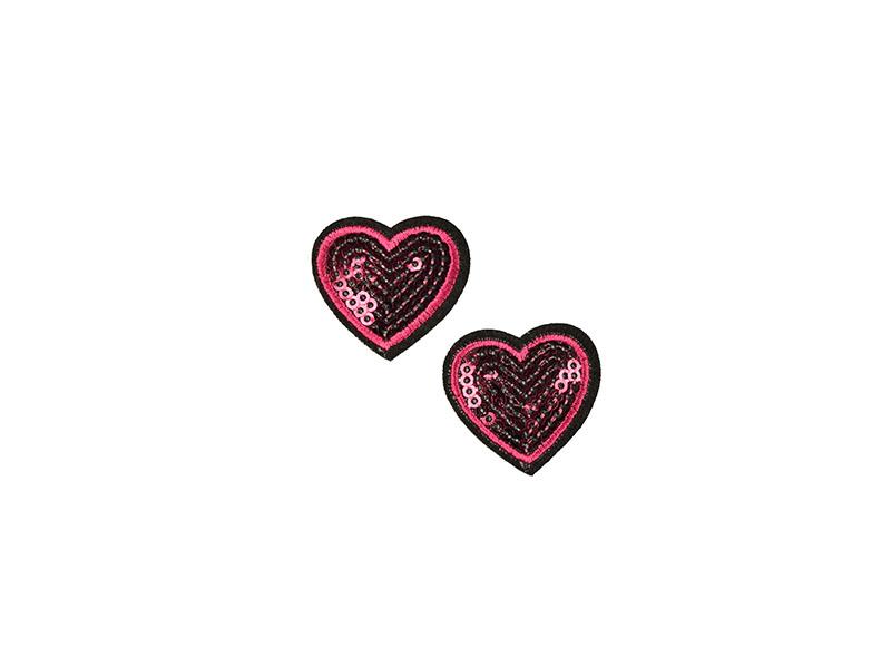 Hartjes applicatie pailletten roze (2 st)