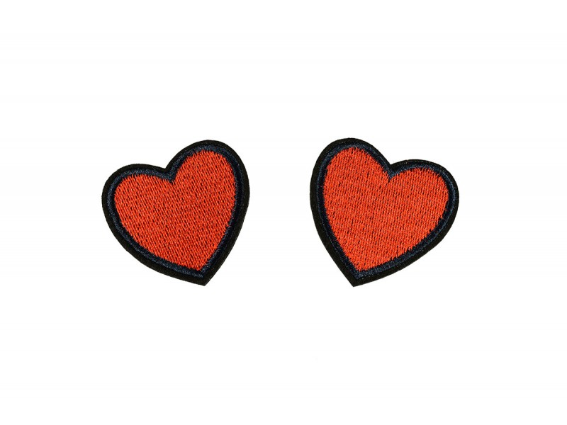 hartjes patch rood 2 stuks 4,5x4,5cm
