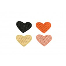 hartjes patch set zwart oranje beige roze