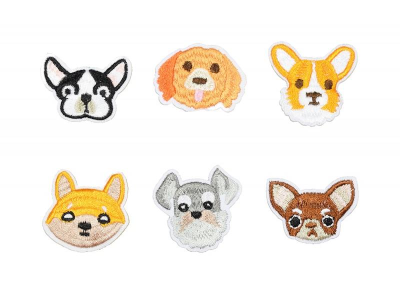 honden koppen applicatie set opstrijkbaar 6 stuks